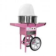 Machine à barbe à papa avec chariot - En inox / Diamètre cuve : Ø 52 cm / Puissance : 1200 Watts