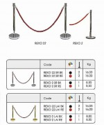 Kit de poteau de guidage à corde - Dimensions : 1050 x 300 mm