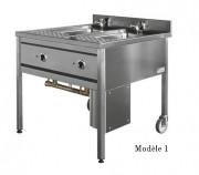Cuiseur à pâtes 2 ou 3 bacs - Matière : acier inoxydable AISI 304L- Dim ( L x l x H ) : 810 x 870 x 900 mm- Puissance : 2 x 9  Kw