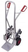 Diables escaliers aluminium - Capacité: 200 kg - 2 roues en étoiles à 5 roulettes
