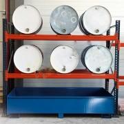 Rayonnage léger pour fûts - Charge admissible par niveau : 2000 kg