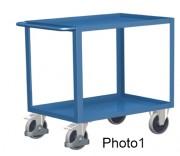 Chariot avec 2 plateaux en tôle, bac ou caillebotis - Capacité de charge : 250 - 400 kg