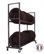 Rack de stockage pneumatique - 2 roulettes fixe diam. 100 mm ,  2 roulettes pivotante diam. 100 mm