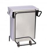Conteneur mobile à ouverture centrale - Capacité : 70(L) - Dimensions Lxpxh : 550 x 520 x 725 mm  - Matière : inox brillant