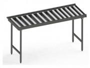 Table droite à rouleaux - Matière :  inox 304L- Pieds ronds ou carrés - Largeur intérieure 540 mm - Longueur : de 1050 à 2650 mm