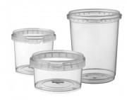 Boîte alimentaire en plastique ronde - Capacité : De 120 à 1180 ml - Modèle rond - Contact alimentaire - Coloris : transparent