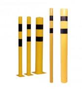 Poteau de protection pour entrepôt en acier - Matière : Acier - Hauteur 1200 mm - Fixation : A sceller ou sur platine