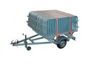 Remorque porte barrières - Capacité : 40 barrières 2 m - 38 barrières 2,5 m