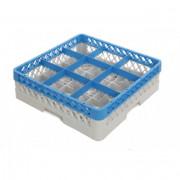 Casiers de lavage verres 9 compartiments - Dimensions :  de 500 x 500 x 140 mm  - Matière : polypropylène recyclable