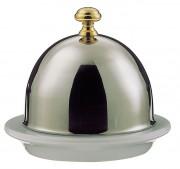 Beurrier et cloche - Diamètre cloche : 7 cm - porcelaine et inox