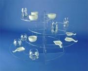 Présentoir pour buffet plexi - Hauteur totale: 40 cm - 4 étages - Espace entre chaque étage: 8 cm