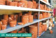 Rayonnage galvanisé pour poterie - Stockage de pièces lourdes