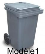 Conteneur à déchets avec couvercle - Capacité  : de 60 à 120 L