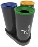 Poubelle recyclagebureau - Type de matériel: métal ou acier inoxydable - 3 bacs de 55 litres