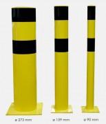 Poteau de sécurité pour entrepôts - Diamètres : De 90 mm à 273 mm - Coloris : Noir/jaune
