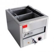 Cuiseur à pâtes électrique 15 litres en inox - 2 paniers larges, robinet de vidange, résistance blindée