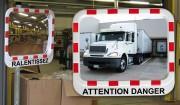 Miroir industriel avec message d'avertissement