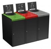 3 meubles poubelles tri selectif - Capacité : 3 x 65 L ou 3 x 90 L