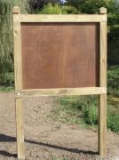 Panneau d'affichage en bois poteaux carrés - Dimensions : 1200 x 800 mm - Modèle : CTBX ou PVC - A sceller
