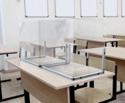 Paravent de protection autoportant pour écoles (lot de 2) - Largeur : de 60 à 100 cm - Hauteur : de 45 à 55 cm - A poser