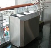 Poubelle bureau à compartiments - Acier inoxydable - 2, 3, ou 4 bacs