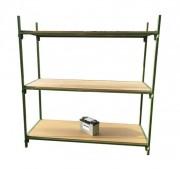 Étagère de stockage métallique occasion - Structure acier - Etagères en bois aggloméré