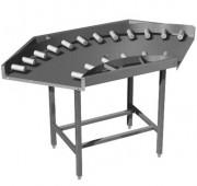 Table virage à mini-rouleaux - - Inox : inox 304L- Dimensions 1100 x 1100 mm- Rouleaux PVC à axes et billes inox