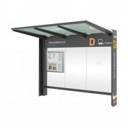 Abri arrêt de bus  - Dimen (Lx P x H):3000 x 1550 x 2450 mm - Poids : 500 kg - Coloris : RAL au choix