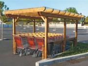 Abri bois pour chariots - Dimensions : 400 L x 280 ht cm