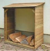 Abri bûches bois chauffage - Revêtement clins bois épaisseur 15 mm