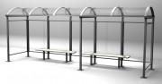 Abri bus finition bois - Longueurs disponibles : 2500 - 3750 - 5000 et 6250 mm