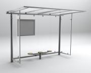 Abri bus métallique - Dimensions (L x l) : 3400 x 1850 mm - Poids : 680 kg
