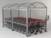 Abri chariot pour supermarchés - Dimensions (L x lx H) : 4500 x 2120  x 2320 mm