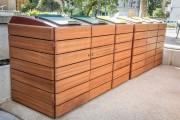 Abri conteneur bois avec couvercle - Capacité poubelle : 660 Litres