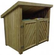 Abri conteneur en bois - Hauteurs : façade = 150 cm - arrière = 110 cm