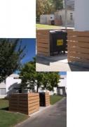 Abri conteneur en compact HPL - Structure : poteau en acier galvanisé