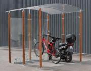 Abri cycles 2 roues - 2 Versions : bois exotique ou acier zingué