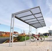 Abri cycles à toit plat - Tube carré 70 x 70 mm