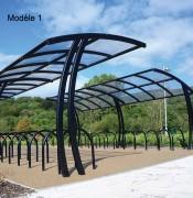 Abri cycles à toiture PETG - A utiliser seul ou côte à côte - Toiture en PETG anti-UV