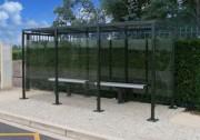 Abri de bus toit plat - Dimensions (L x l) : 3750 x 1600 ou 2500 mm