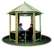Abri de jadin bois 6 sièges - Encombrement maximum (cm) : 307 x 270 x 325 h