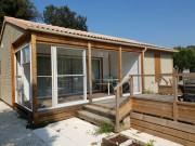Abri de terrasse de chalet/cottage - Cloison coulissante pour fermer les préaux existants