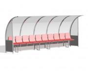 Abri de touche haute résistance - Sièges en PVC ou banc en bois - Capacité : 10 ou 12 sièges - Longueur : 5 ou 6 m
