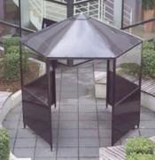 Abri fumeur hexagonal - Structure: Acier doux 4 - Toit : aluminium