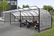 Abri motos avec toit polycarbonate - 2 modèles: Galvanisé - Galvanisé et peint