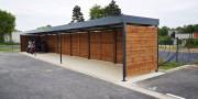 Abri motos et vélos en bois - Abri en bois toit pente - Dimensions toiture : 18,24 x 2,5 m