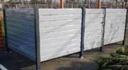 Abri poubelle à bardage métallique - Sans toit - Poteaux métalliques : tube carré de 60x60