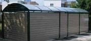 Abri poubelle à toit en polycarbonate - Ossature en acier galvanisé à chaud - Avec toit arrondi