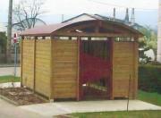 Abri poubelle en bois - Dimensions (m) : 3 x 4