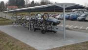 Abri vélo à Toiture modulaire - Portée : 5,50 m - Hauteur des poteaux : jusqu'à 4 m